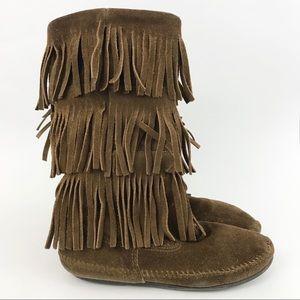 Minnetonka Moccasins 3 Layer Fringe Boots Brown 7